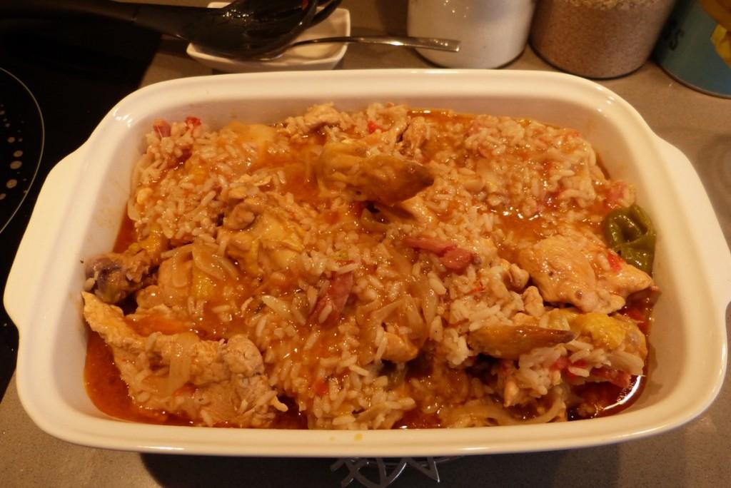 Resultado del pollo guisado con arroz