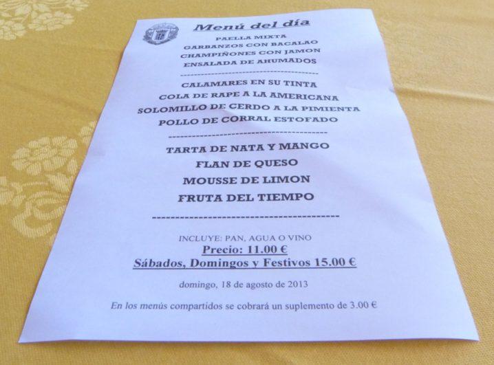 Menu del Restaurante Valentin en Aguilar de Campoo