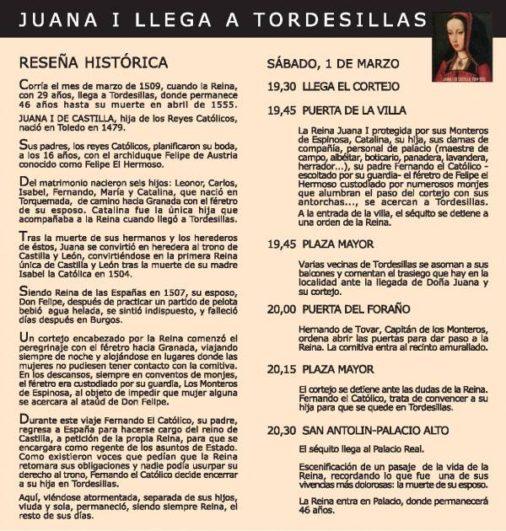 Programa Cortejo Reina Juana en Tordesillas 2014