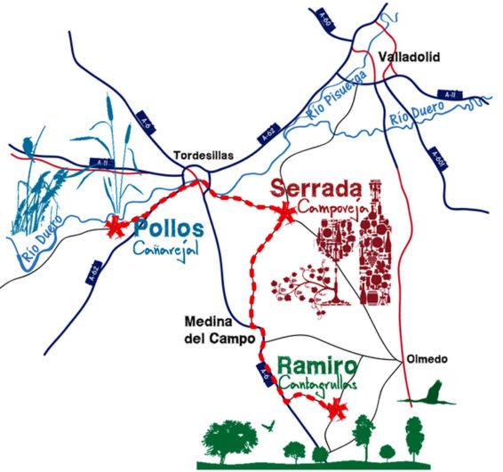 mapa ruta Caminos del Queso en Valladolid