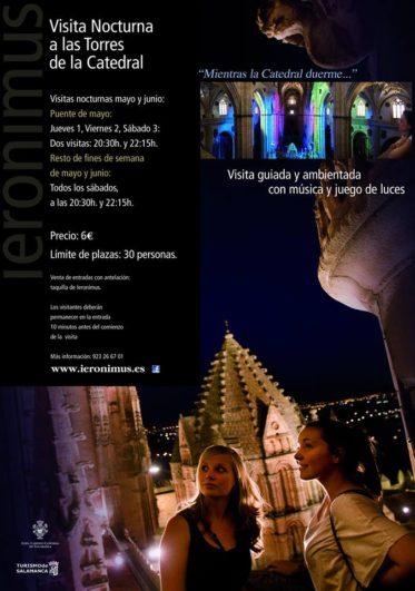 Cartel visitas nocturnas a la torre de la catedral