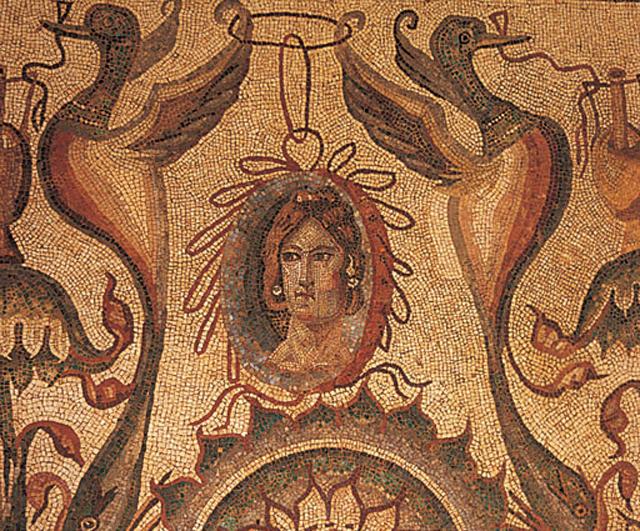 Detalle mosaico en la Villa romana la Olmeda (Palencia)