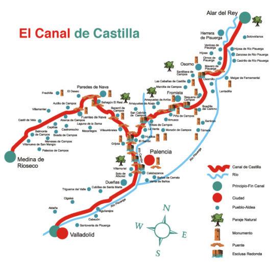 Mapa canal de castilla