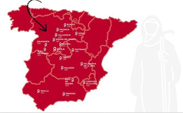 Mapa de la Ruta Huellas de Santa Teresa