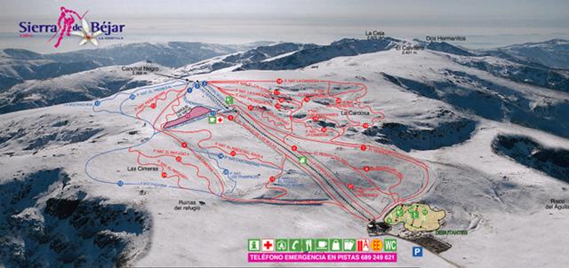 Estación de Esquí La Covatilla plano de pistas