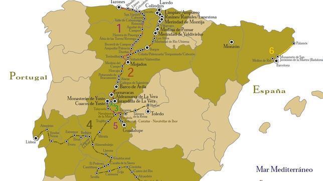 Ruta de Carlos V - mapa - Destino Castilla y León