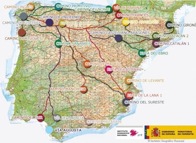 Mapas de Caminos de Santiago por España - Ministerio de Fomento