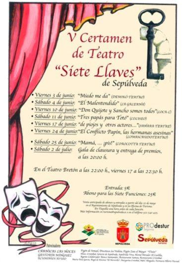 Cartel del V Certamen de Teatro Aficionado de Sepúlveda - Destino Castilla y León