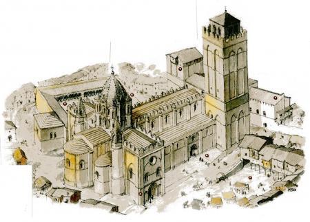 Representación de cómo pudo haber sido la Catedral vieja de Salamanca - Imagen de Amigos del Románico