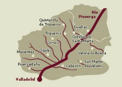 Mapa de la Denominación de Origen Cigales