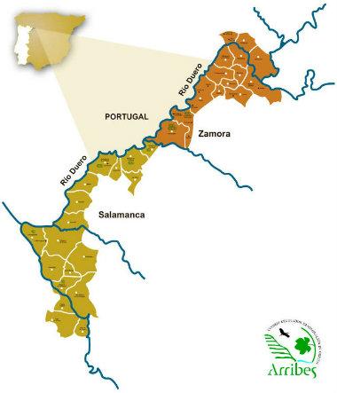 Mapa de la extensión de la Denominación de Origen Arribes Denominaciones de Origen de Castilla y León I
