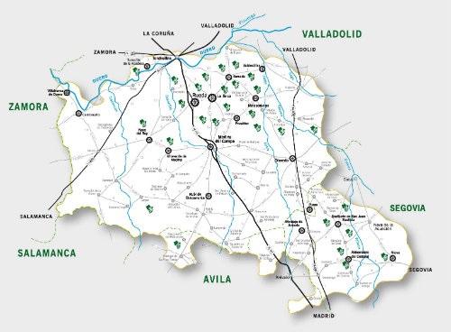 Mapa de la Denominación de Origen Rueda