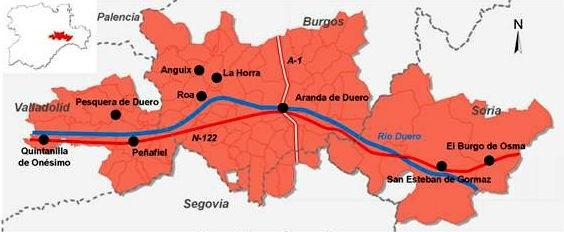 Mapa de la Denominación de Origen Ribera del Duero