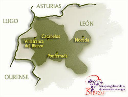 Mapa de la Denominación de Origen Bierzo