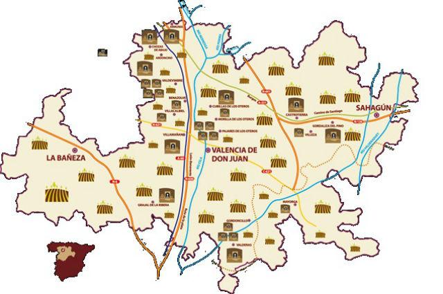 Mapa de la extensión de la Denominación de Origen Vinos de las Tierras de León
