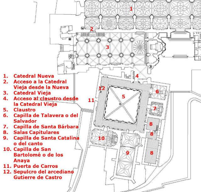 Plano de la Catedral vieja y el Claustro - Destino Castilla y León