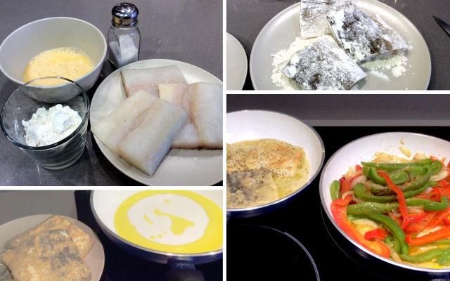 Rebozamos el pescado y lo preparamos para unirlo a los pimientos - Destino Castilla y León
