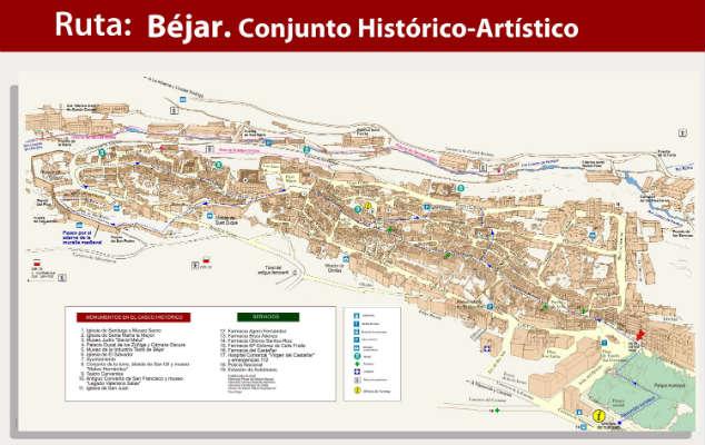 Plano turístico de Béjar - Haz clic para agrandar - Imagen de Bejar.es