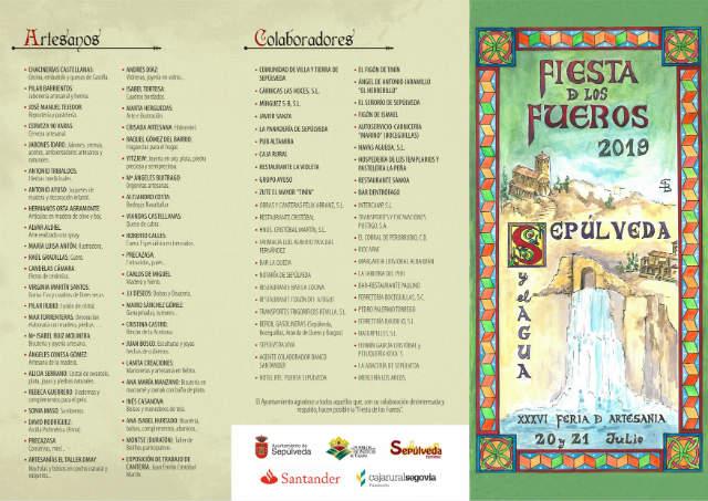 Programación de las Feria y Fiestas de los Fueros de Sepúlveda 2019