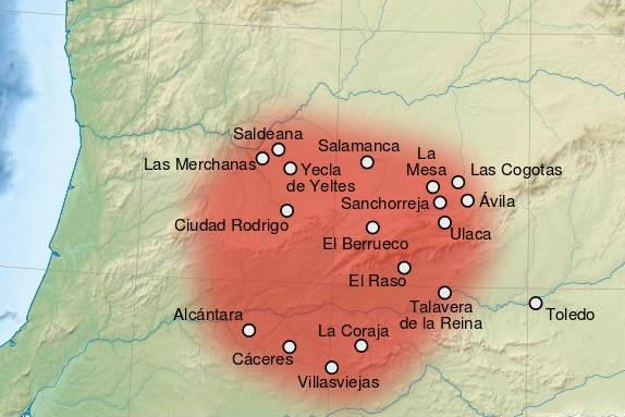 Territorio y principales ciudades de los Vettones en la península Ibérica - Imagen de Wikipedia