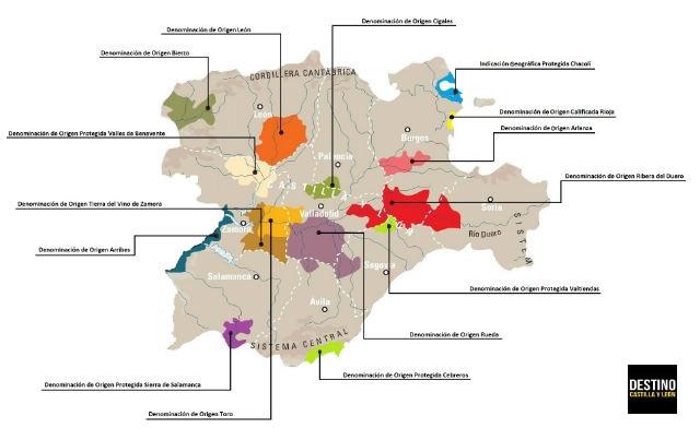 Denominaciones de Origen de Castilla y León - Pulsa aquí para ver en grande - Destino Castilla y León