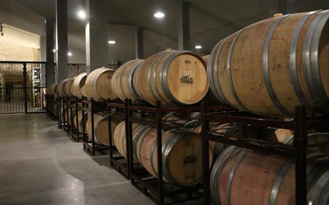 Sala de barricas en la bodega moderna de Granja de Santa Rosalía - Destino Castilla y León