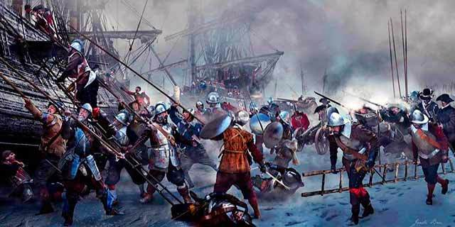 Asalto a los buques de guerra holandeses durante el Milagro de Empel