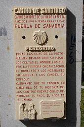 Placa conmemorativa del paso del El Camino de Santiago