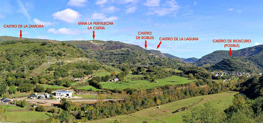 Vista desde el mirador de la muela con los diferentes Castros - Imagen del Ayto. de Villablino