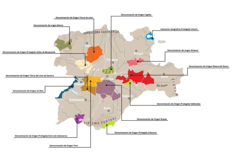 Mapa de las Denominaciones de Origen de Castilla y León I