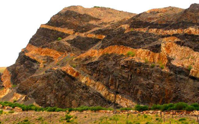 Fotografía de los estratos de las montañas de León