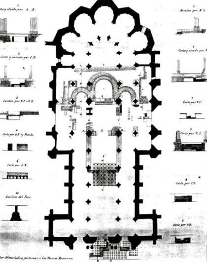 Superposición de la planta románica, sobre la actual esctrucutra gótica de la Catedral - Imagen de ElViajeroHistorico