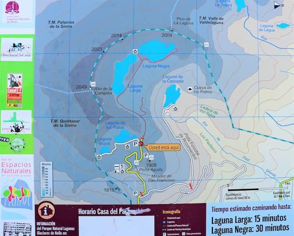 Mapa del Complejo de las Lagunas Glaciares de Neila, pincha aquí para abrir en grande - Destino Castilla y León