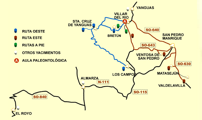 Mapa Ruta de las Icnitas de Soria