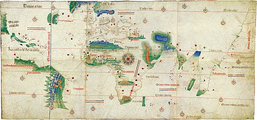 Plano Cantino de 1502 que ya representa la línea del Tratado de Tordesillas