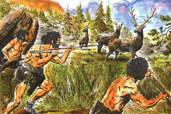 Representación de cazadores en paleolítico