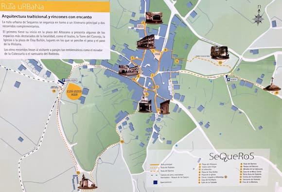 Mapa de lugares de interés en Sequeros - Destino Castilla y León