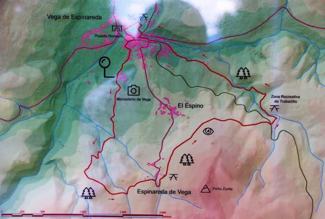 Mapa de rutas de senderismo desde Vega de Espinareda - Destino Castilla y León